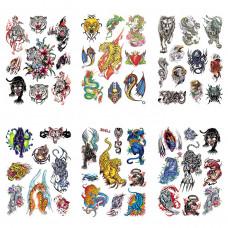 TTK003-203 Временные татуировки набор 6 листов 12х17,5см Тигры, животные