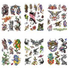 TTK003-204 Временные татуировки набор 6 листов 12х17,5см Животные, птицы, драконы