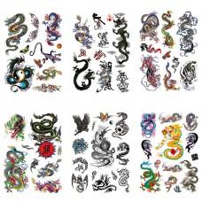 TTK003-205 Временные татуировки набор 6 листов 12х17,5см Драконы