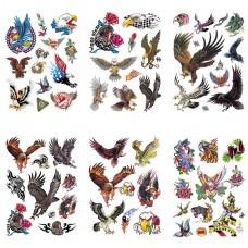 TTK003-206 Временные татуировки набор 6 листов 12х17,5см Орлы