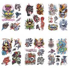 TTK003-207 Временные татуировки набор 6 листов 12х17,5см Rock'n'Roll
