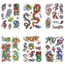 TTK003-208 Временные татуировки набор 6 листов 12х17,5см Драконы