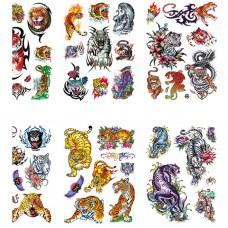 TTK003-210 Временные татуировки набор 6 листов 12х17,5см Тигры