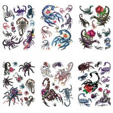 TTK003-211 Временные татуировки набор 6 листов 12х17,5см Скорпионы