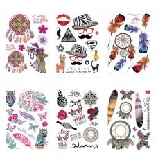 TTK003-303 Временные татуировки набор 6 листов 12х17,5см Ловцы снов, перья