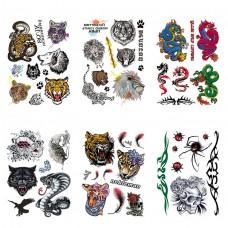 TTK003-304 Временные татуировки набор 6 листов 12х17,5см Животные, драконы