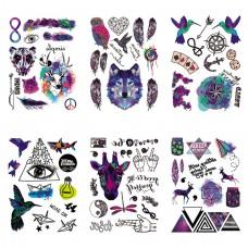 TTK003-305 Временные татуировки набор 6 листов 12х17,5см Микс