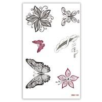 TTWM-145 Временная татуировка Бабочки, цветы