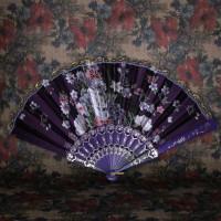 VR001-05 Веер 24см ткань, пластик, цвет фиолетовый