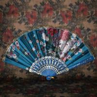 VR001-06 Веер 24см ткань, пластик, цвет синий