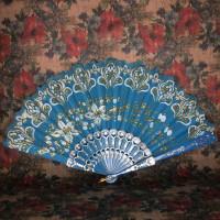 VR001-10 Веер 24см ткань, пластик, цвет синий