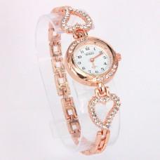 WA013GW Часы - браслет женские со стразами Сердечки, цвет золот.