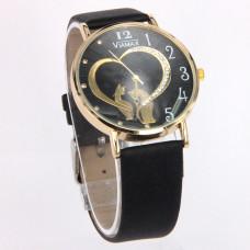 WA014BB Часы наручные женские Кошки с ремешком чёрные