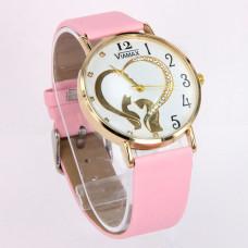 WA015PW Часы наручные женские Кошки с ремешком розовые