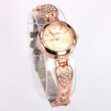 WA017GW  Часы - браслет женские со стразами Сердечки, цвет роз.золот.