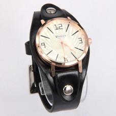 WA018BW Часы наручные с широким кожаным браслетом, цвет чёрный