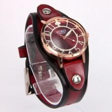WA018DR Часы наручные с широким кожаным браслетом, цвет тёмно-красный