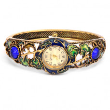 WA022-01 Часы - браслет, эмаль, внутр.размер 5,7х4,2см, цвет бронз.