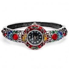 WA022-02 Часы - браслет, эмаль, внутр.размер 5,7х4,2см, цвет серебр.