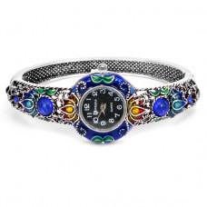 WA022-04 Часы - браслет, эмаль, внутр.размер 5,7х4,2см, цвет серебр.