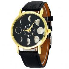 WA023-BK Часы наручные Фазы луны с черным ремешком