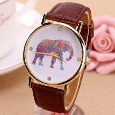 WA024-BR Часы наручные Слон с коричневым ремешком