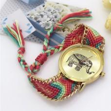 WA034-1 Часы наручные Слон с плетёным браслетом