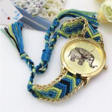 WA034-2 Часы наручные Слон с плетёным браслетом