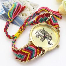 WA034-3 Часы наручные Слон с плетёным браслетом