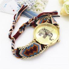 WA034-4 Часы наручные Слон с плетёным браслетом