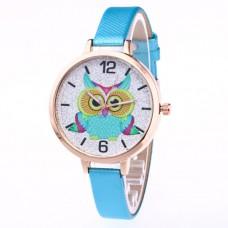 WA037-LB Часы наручные Сова с фиолетовым ремешком