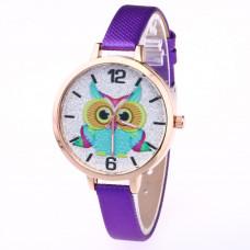 WA037-PU Часы наручные Сова с голубым ремешком