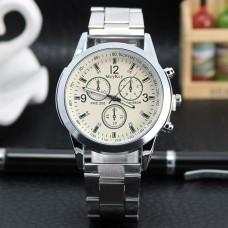 WA038-W Часы наручные с металлическим браслетом, белый циферблат