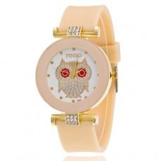 WA043-BJ Часы наручные Сова со стразами, цвет бежевый