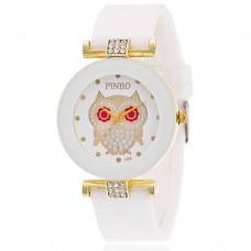 WA043-W Часы наручные Сова со стразами, цвет белый