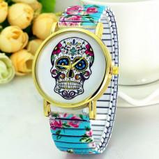 WA044-LB Часы наручные Череп с голубым браслетом - резинкой