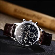 WA048-BR Часы наручные, циферблат хамелеон, с коричневым ремешком