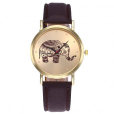 WA051-BR Часы наручные Слон с коричневым ремешком