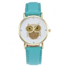 WA052-SG Часы наручные Сова с бирюзовым ремешком