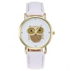 WA052-W Часы наручные Сова с белым ремешком