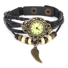 WA055-BK Часы - браслет Крыло, цветь бронза, черный ремешок