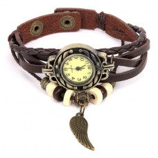 WA055-BR Часы - браслет Крыло, цветь бронза, коричневый ремешок