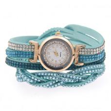 WA058-LB Часы - браслет со стразами, цвет голубой