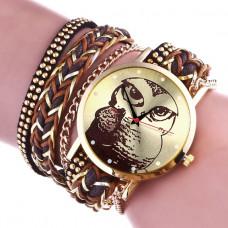 WA062 Часы - браслет Сова, цвет коричневый