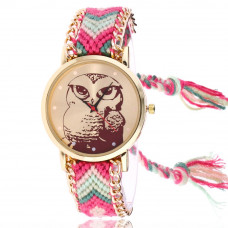 WA064 Часы наручные Сова с плетёным браслетом