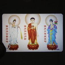 YA015 Карта Будды Три тела Будды 8,7х5,7см, прозрачный пластик