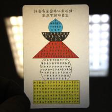 YA022 Карта Будды Сутра Сердца Башня 8,7х5,7см, прозрачный пластик