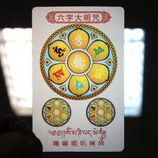 YA027 Карта Будды Ом Мани Падме Хум 8,7х5,7см, прозрачный пластик