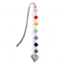 ZK002-2 Закладка для книг Сердце с натуральными камнями по цветам чакр 10,8см