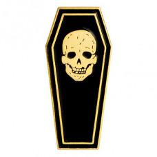 ZN001 Значок Гроб с черепом, металл, эмаль 32х14мм